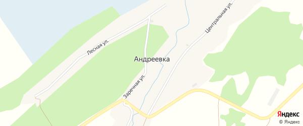 Заречная улица на карте поселка Андреевки с номерами домов