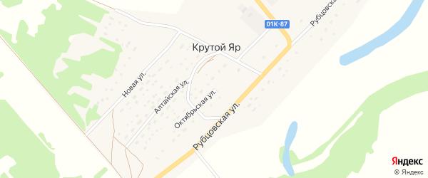 Октябрьская улица на карте поселка Крутого Яра с номерами домов