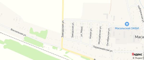 Заводская улица на карте Масальского поселка с номерами домов