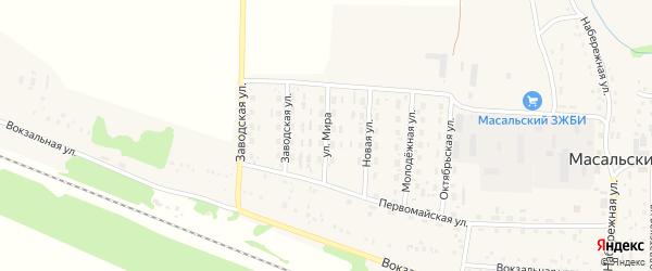 Улица Мира на карте Масальского поселка с номерами домов