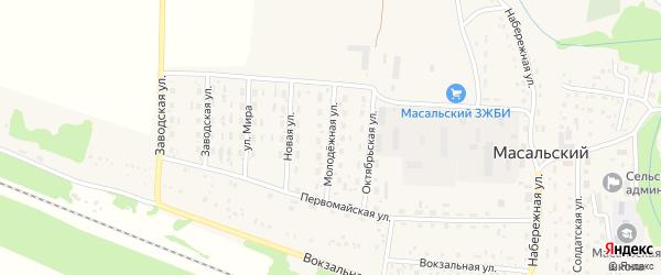 Молодежная улица на карте Масальского поселка с номерами домов