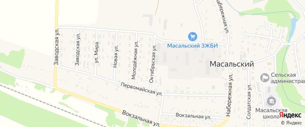 Октябрьская улица на карте Масальского поселка с номерами домов