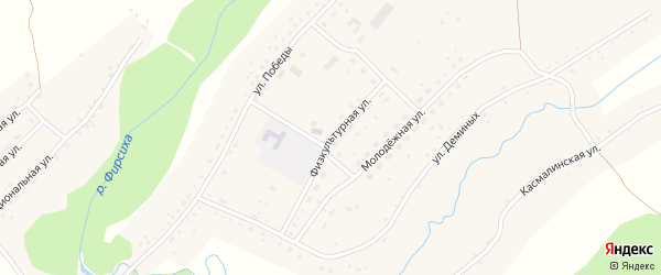 Физкультурная улица на карте Буканского села с номерами домов