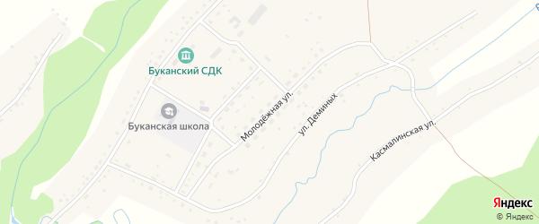 Молодежная улица на карте Буканского села с номерами домов