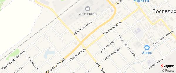 Советская улица на карте села Поспелихи с номерами домов