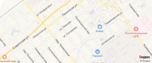 Союзмуковский переулок на карте села Поспелихи с номерами домов