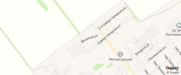 Весенняя улица на карте села Поспелихи с номерами домов