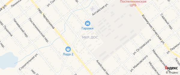 Микрорайон ДОС на карте села Поспелихи с номерами домов