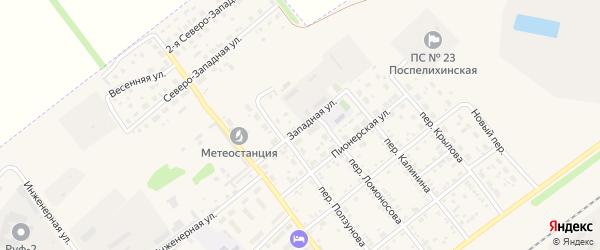 Западная улица на карте села Поспелихи с номерами домов