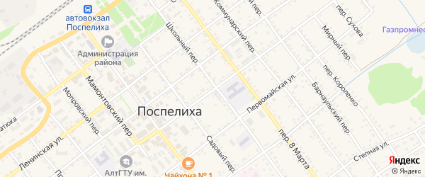 Улица Гончарова на карте села Поспелихи с номерами домов