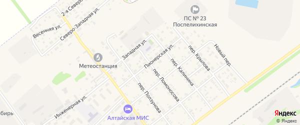 Пионерская улица на карте села Поспелихи с номерами домов