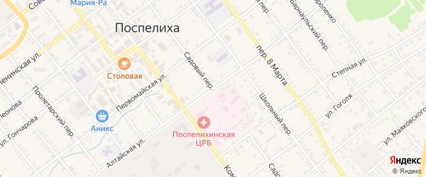 Садовый переулок на карте села Поспелихи с номерами домов