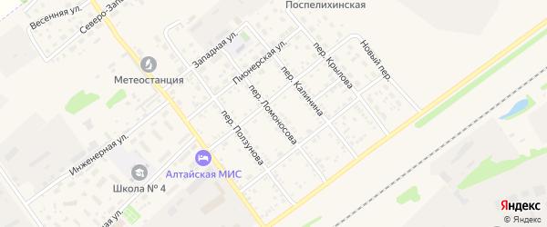 Переулок Ломоносова на карте села Поспелихи с номерами домов
