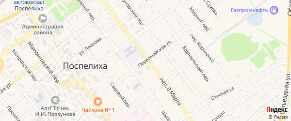 Первомайская улица на карте села Поспелихи с номерами домов