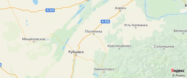 Карта Поспелихинского района Алтайского края с городами и населенными пунктами