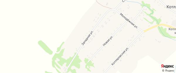 Западная улица на карте поселка Котляровки с номерами домов