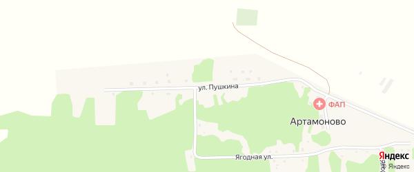 Улица Пушкина на карте поселка Артамоново с номерами домов