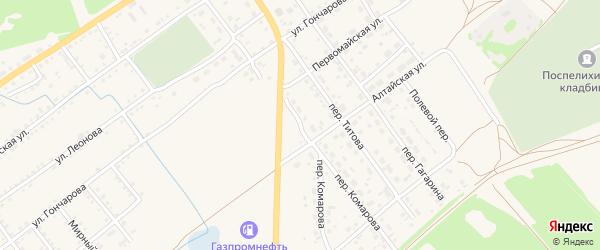 Переулок Комарова на карте села Поспелихи с номерами домов