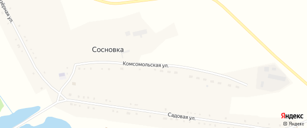 Комсомольская улица на карте поселка Сосновки с номерами домов