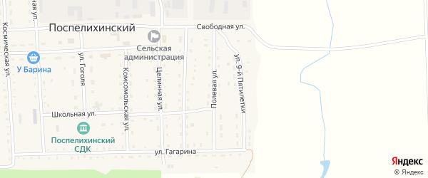 Полевая улица на карте Поспелихинского поселка с номерами домов