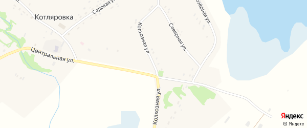 Колхозная улица на карте поселка Котляровки с номерами домов