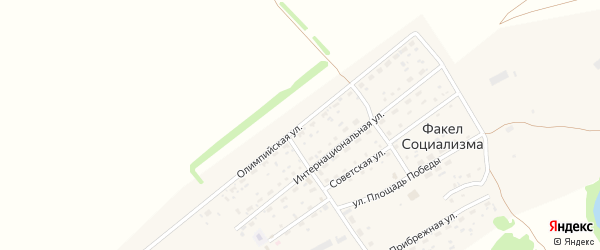 Олимпийская улица на карте поселка Факела социализма с номерами домов