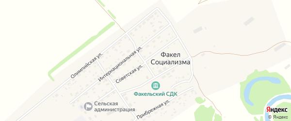 Советская улица на карте поселка Факела социализма с номерами домов
