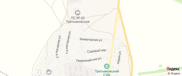 Элеваторная улица на карте станции Третьяково с номерами домов
