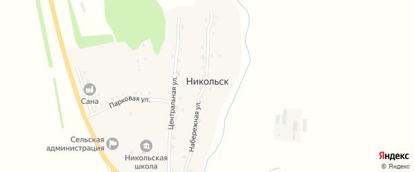 Зеленая улица на карте села Никольска с номерами домов