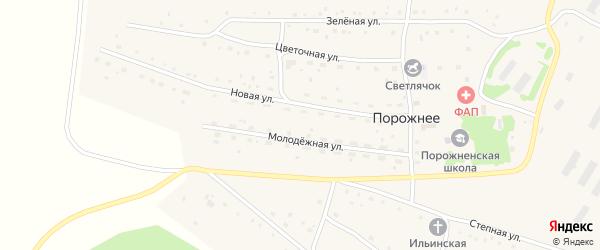 Молодежная улица на карте Порожнего села с номерами домов