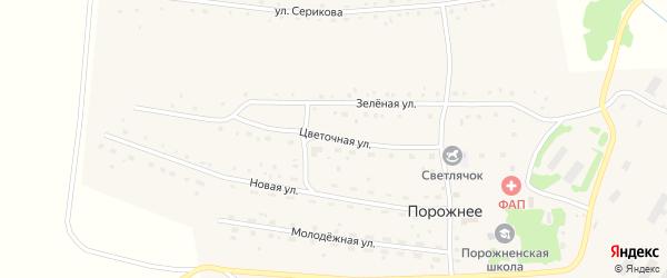 Цветочная улица на карте Порожнего села с номерами домов