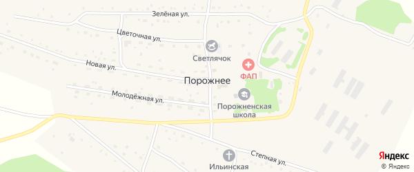 Зеленая улица на карте Порожнего села с номерами домов