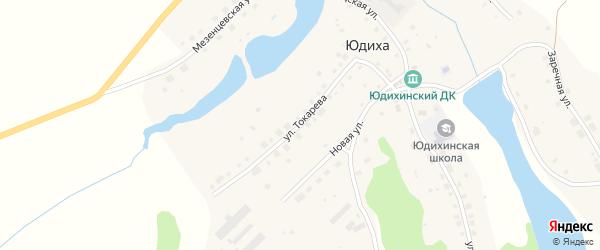 Улица Токарева на карте села Юдихи с номерами домов