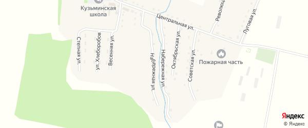Набережная улица на карте села Кузьминки с номерами домов