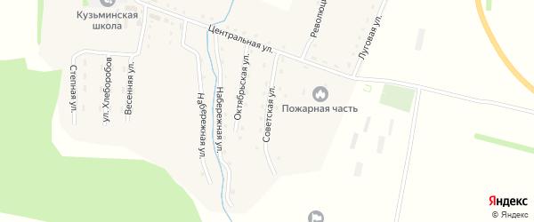 Советская улица на карте села Кузьминки с номерами домов