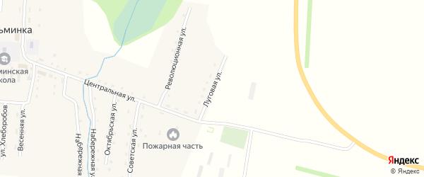 Луговая улица на карте села Кузьминки с номерами домов