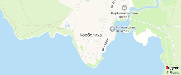 Карта села Корболихи в Алтайском крае с улицами и номерами домов