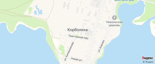 Промышленный переулок на карте села Корболихи с номерами домов
