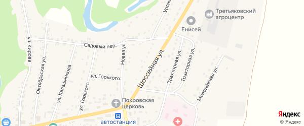 Шоссейная улица на карте Староалейского села с номерами домов