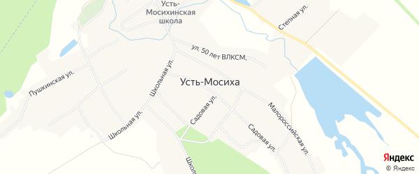 Карта села Усть-Мосихи в Алтайском крае с улицами и номерами домов