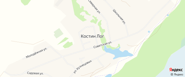 Карта села Костина Лога в Алтайском крае с улицами и номерами домов