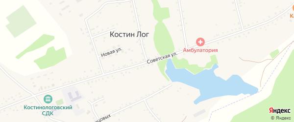 Советская улица на карте села Костина Лога с номерами домов