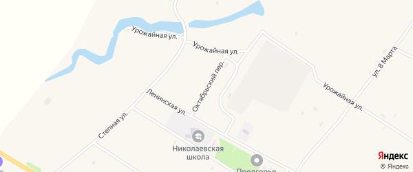 Октябрьский переулок на карте села Николаевки с номерами домов
