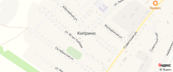 Пролетарская улица на карте села Киприно с номерами домов