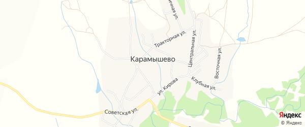 Карта села Карамышево в Алтайском крае с улицами и номерами домов
