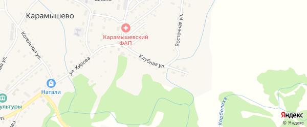 Клубная улица на карте села Карамышево с номерами домов