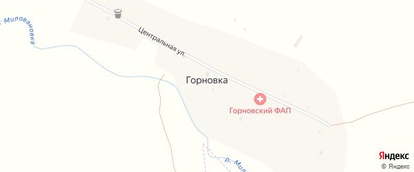 Центральная улица на карте поселка Горновки с номерами домов