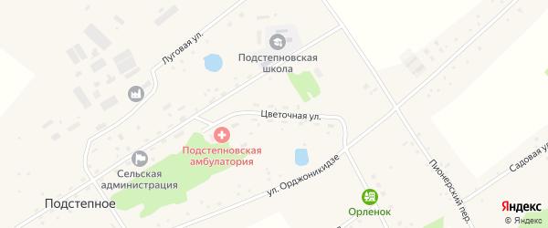 Цветочная улица на карте Подстепного села с номерами домов