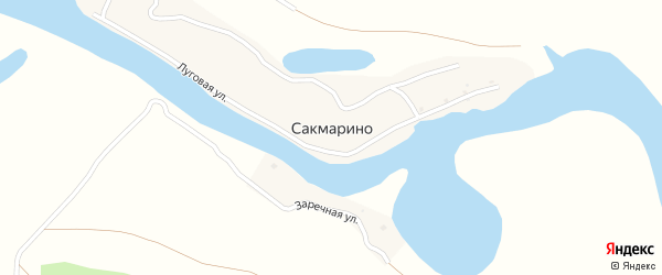 Заречная улица на карте села Сакмарино с номерами домов
