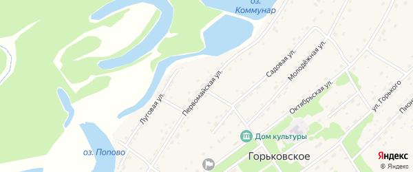 Первомайская улица на карте Горьковского села с номерами домов